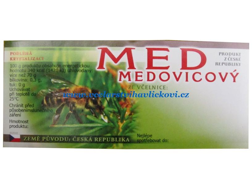 Etiketa MED medovicový