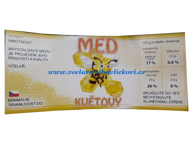 Etiketa MED květový Včelka